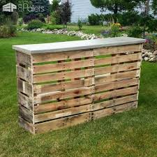 wooden pallet bars add class with a concrete top for years of use