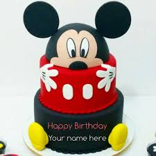 Mickey Mouse Double Layer Birthday Cake With Name