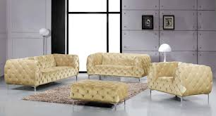 Tufted Living Room Set Meridian Furniture Mercer 646be S 3pc Modern Tufted Beige Velvet