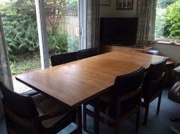 solid teak dining table 6 chairs 1960 s