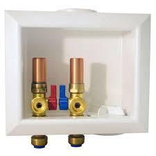 brass washing machine box with water hammer arrestors