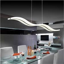 led pendant light dining room rectangular wave led chandelier img 1