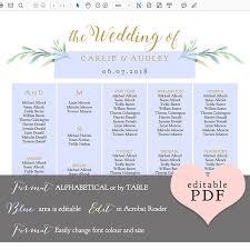 Wedding Seating Chart Wording Greenery Seating Chart Printable Template