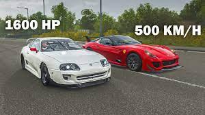 Fh4 Drag Race 1600 Bhp Toyota Supra Vs 500 Km H Ferrari 599xx Evo Youtube