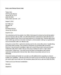 entry level clerical clerical cover letter samples