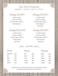 Photography Pricing Template Price Sheet Photography Template Photography Price List