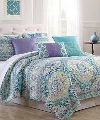 S.L. Home Fashions Aqua & Lilac Margarette Cotton-Rich Six-Piece ... & Aqua & Lilac Margarette Cotton-Rich Six-Piece Quilt Set Adamdwight.com