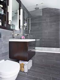grey tile paint color for contemporary bathroom plan with chocolate brown floating vanity