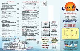 Blue bay asian cafe menu