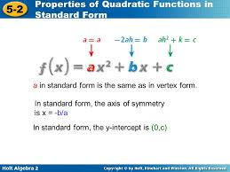 quadratic function in standard form examples