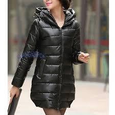 image is loading women faux leather puffer coat jacket hooded parka