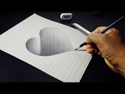 how to draw 3d stone heart easy 3d drawing for kids you