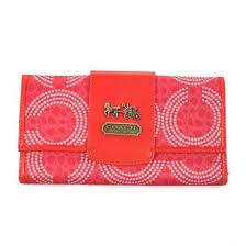 Coach Dot Logo Large Red Wallets ECX