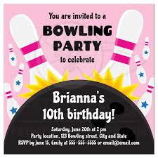 Bowling Party Invitations Pink Bowling Birthday Party Invite For Girls With Ball Hitting Pins