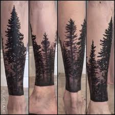 Forest Tattoo On Leg Tatts Forest Tattoos Tattoos Tree Sleeve