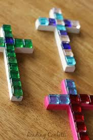 Easy and inexpensive mosaic crosses kids can make to give as gifts for  Easter or Mother's Day -- good for Sunday School craft.
