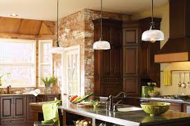 Small Pendant Lights For Kitchen Earthy Brick Kitchen With Small Pendant Lights And Bay Windows In