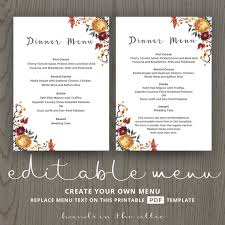 Autumn Dinner Menus Fall Wedding Dinner Menu Template Wedding Menu Cards Wedding