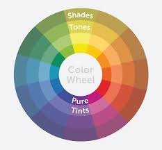 complete color wheel with shades tones pure colors and tints