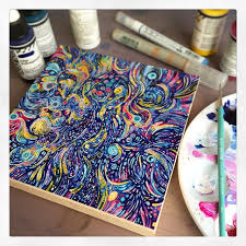 playing with golden high flow acrylics on wood panel resin artpainting techniquesjournal