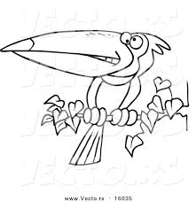 Small Picture Vector of a Cartoon Exotic Toucan Perched on a Branch Outlined