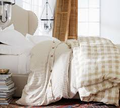 gray rhett check organic percale patterned duvet cover sham pottery barn