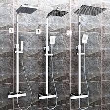 Duschset Chrom Quadratisch Duschsystem Duscharmatur