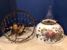 antique hanging brass oil lamp hand painted porcelain shade w prisms chandelier