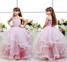 ball dresses for kids. pink glitz flower girls dresses child ball gowns spagheti strap kid party birthday communion dress back lace up layers pageant for kids k