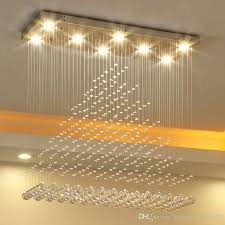 modern rectangle led 3 brightness clear crystal ceiling lights fixture lamps chandeliers pendant lights lighting with led bulbs and remote red chandelier