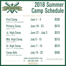 Summer Camp Weekly Schedule The 2018 Summer Camp Schedule Is Now Available Camp Hardtner