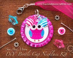 beaded bottle cap necklace kit makes cute bottle cap pendants with dangles perfect for parties