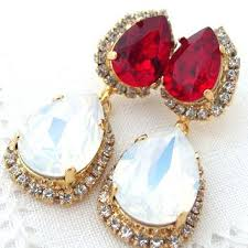 red crystal chandelier earrings white opal and deep red halo crystal chandelier earrings drop earrings dangle
