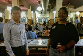 "Rice Engineering on Twitter: ""Ben Yin, a @CHBE_RiceU major, discusses his  work with Stephanie Rogers '05 @RiceCEVE at the @RiceEngineers Winter  Social.… https://t.co/EoBGZygBl7"""