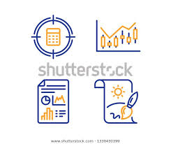 Calculator Target Report Document Financial Diagram Stock