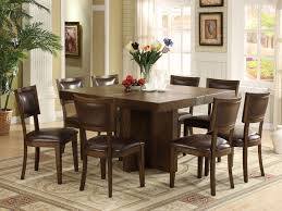 ... Dining Tables, Astonsihing Brown Rectangle Contemporary Wooden Square  Dining Table For 8 Stained Ideas: ...