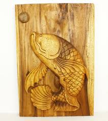 leaping fish wood wall panel