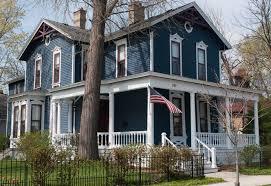 Dark slate blue gray white trim touches red victorian