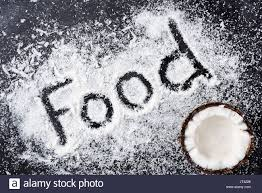 the word food written in food. Beautiful Word Top View Of Half Coconut And Word Food Written In Shavings On Black On The Word Food Written In E