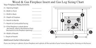 Gas Fireplace Sizing Chart Gas Inserts