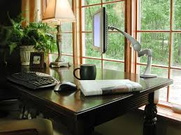 designing home office. Pleasant Wooden Computer Desk Near Window For Designing Home Office