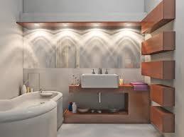 glamorous bathroom lighting idea with spotlights also unique white modern bath