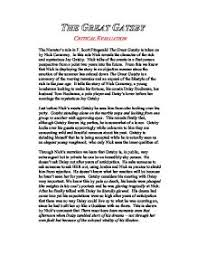 critical evaluation the narrator s role in f scott fitzgerald  page 1 zoom in