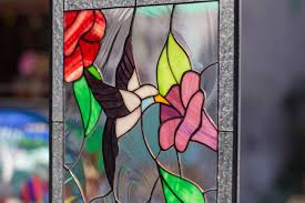 tiffany style stained glass leaded window rv garden hummingbird flowers 2 birds 21 by 12 inches