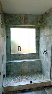 window in shower tile bathroom design with glass shower door in block window walk designs window
