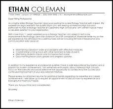 High School Student Cover Letters Template Good Biology Teacher