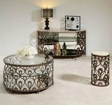 American Drew Bob Mackie 3 Piece Coffee Table Set W/ Brown Metal Base    Contemporary
