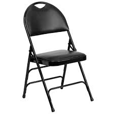 black metal folding chairs. Flash Furniture Hercules Series Extra Large Ultra-Premium Triple Braced Black Vinyl Metal Folding Chair With Easy-Carry Handle-HAMC705AV3BK - The Home Depot Chairs