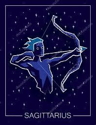 знак зодиака стрелец на звездное небо ночь векторное изображение