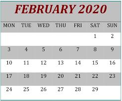 February 2020 Calendar Template Printable February 2020 Printable Calendar Template Free Latest